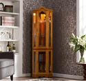 Holly & Martin Riley Lighted Corner Curio Cabinet-Golden Oak