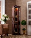 Holly & Martin Riley Lighted Corner Curio Cabinet-Mahogany
