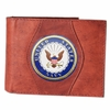 Leather Wallet Navy - Brown