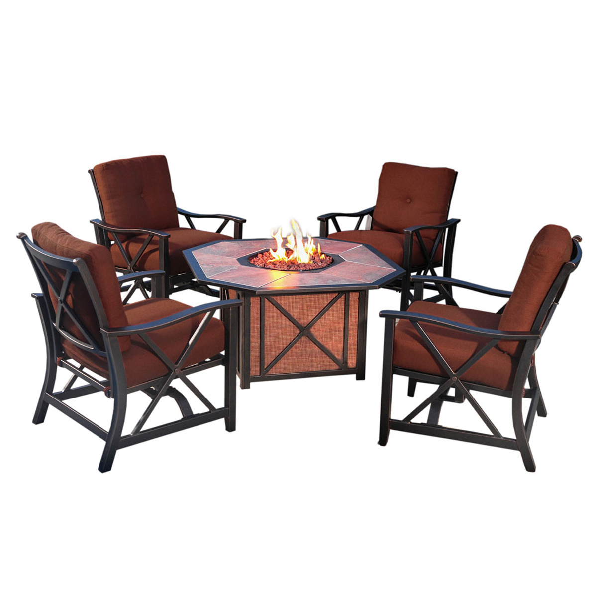 Agio Haywood 5 Piece Fire Pit Set With 4 Spring Chairs And 1 Gas Fire Pit  With Tile Top