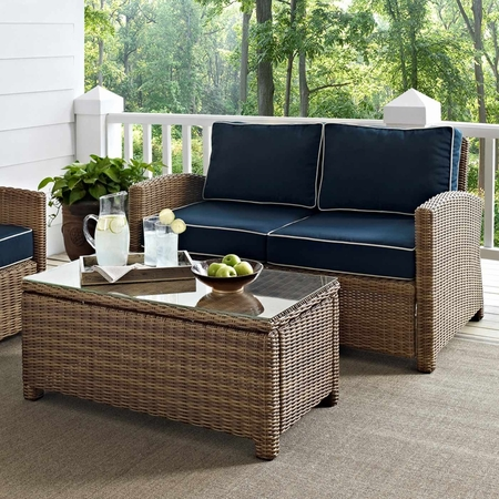 Crosley Biltmore 2 Piece Outdoor Wicker Loveseat with Coffee Table Set