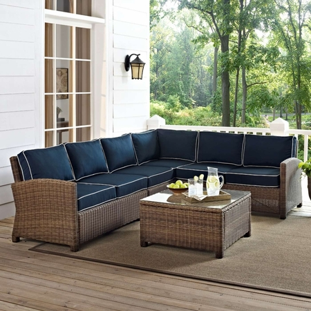 Crosley Biltmore 5 Piece Wicker Sectional Conversation Set with Cushions