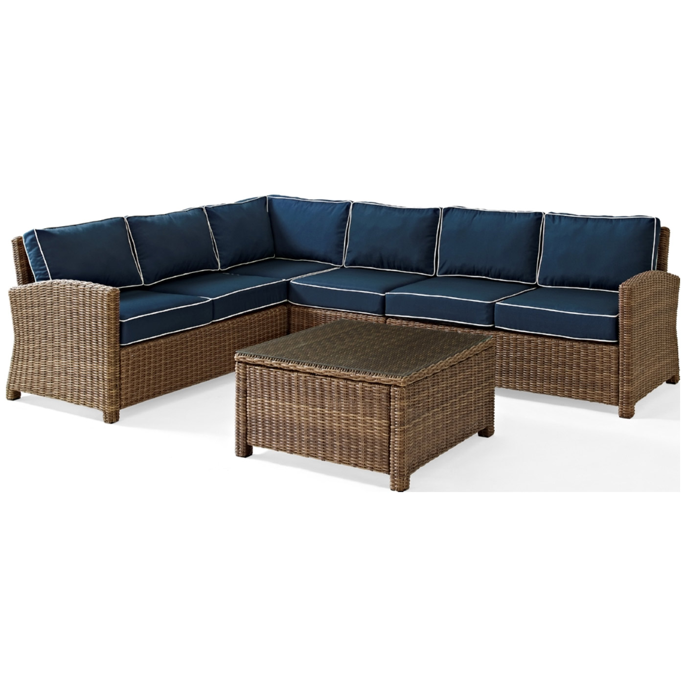 Crosley Biltmore 5 Piece Wicker Sectional Conversation Set with