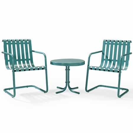 Crosley Gracie 3 Piece Metal Outdoor Conversation Seating Set - 2 Chairs and Side Table in Caribbean Blue