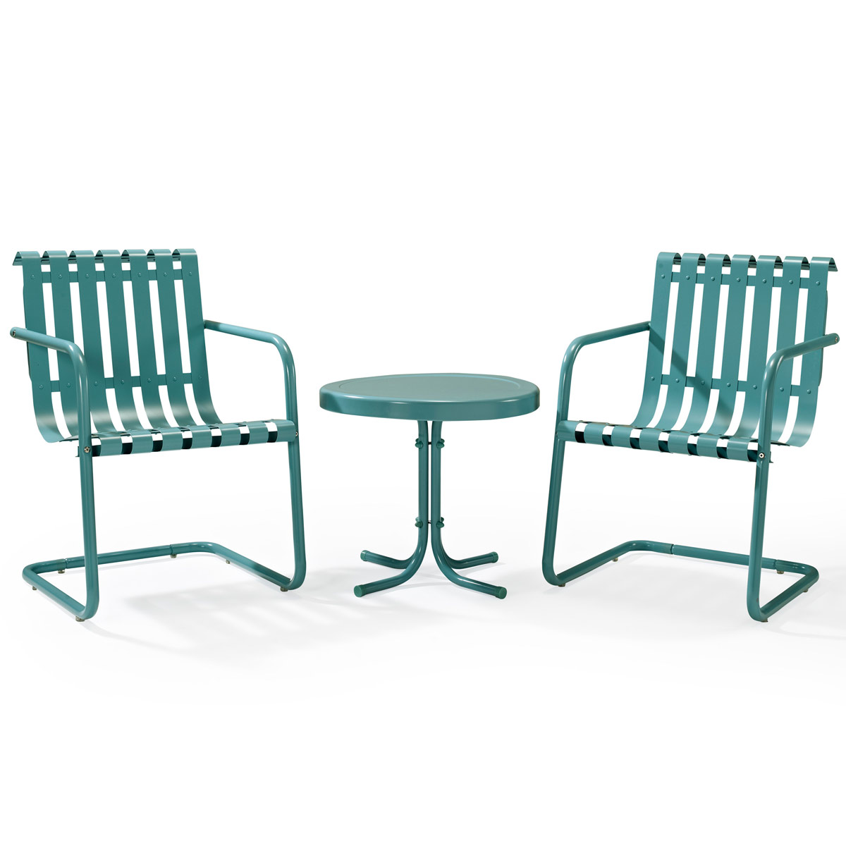 Crosley Gracie 3 Piece Metal Outdoor Conversation Seating Set   2 Chairs  And Side Table In Caribbean Blue
