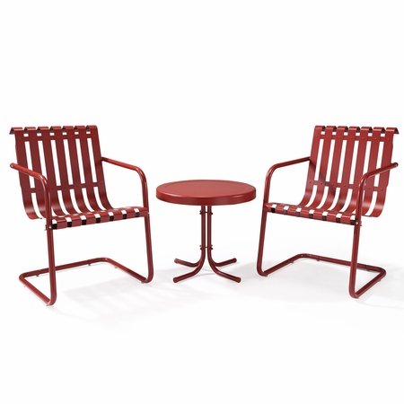 Crosley Gracie 3 Piece Metal Outdoor Conversation Seating Set - 2 Chairs and Side Table in Coral Red