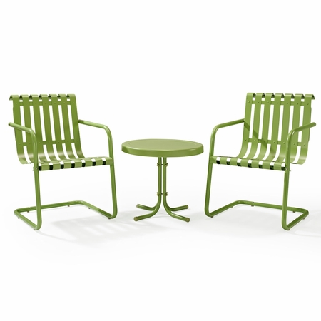 Crosley Gracie 3 Piece Metal Outdoor Conversation Seating Set - 2 Chairs and Side Table in Oasis Green