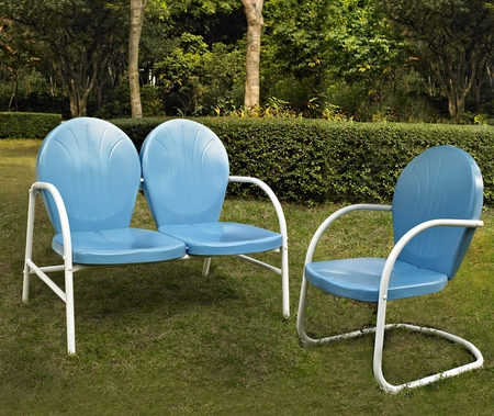Crosley Griffith 2 Piece Metal Outdoor Conversation Seating Set - Loveseat and Chair in Sky Blue