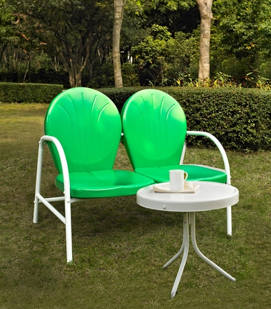 Crosley Griffith 2 Piece Metal Outdoor Conversation Seating Set - Loveseat and Table in Grasshopper Green