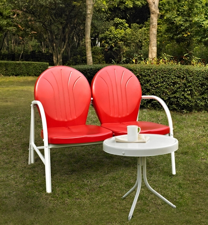 Crosley Griffith 2 Piece Metal Outdoor Conversation Seating Set - Loveseat and Table in Red