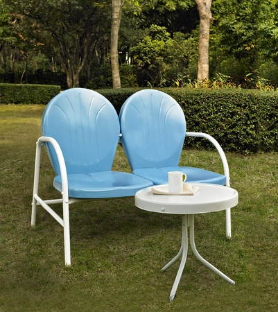 Crosley Griffith 2 Piece Metal Outdoor Conversation Seating Set - Loveseat and Table in Sky Blue