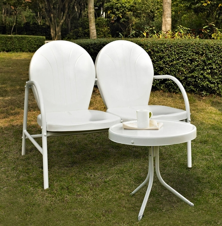 Crosley Griffith 2 Piece Metal Outdoor Conversation Seating Set - Loveseat and Table in White
