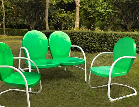 Crosley Griffith 3 Piece Metal Outdoor Conversation Seating Set - Loveseat and 2 Chairs in Grasshopper Green