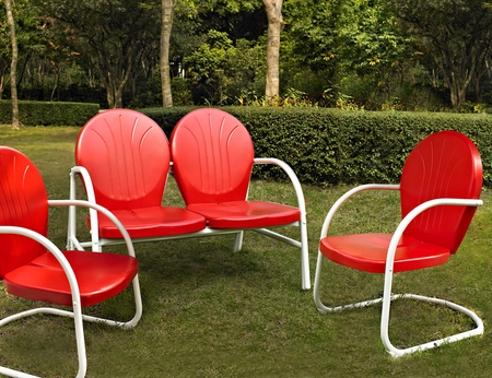 Crosley Griffith 3 Piece Metal Outdoor Conversation Seating Set - Loveseat and 2 Chairs in Red