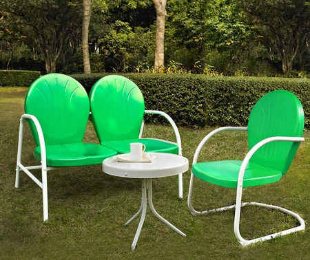 Crosley Griffith 3 Piece Metal Outdoor Conversation Seating Set - Loveseat and Chair in Grasshopper Green with Side Table in White