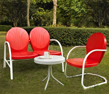 Crosley Griffith 3 Piece Metal Outdoor Conversation Seating Set - Loveseat and Chair in Red with Side Table in White