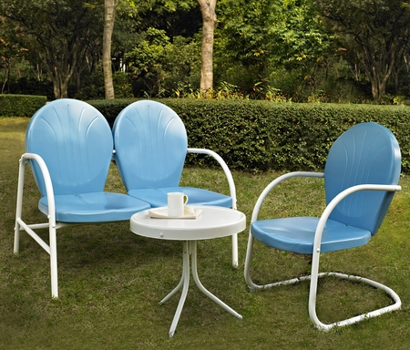 Crosley Griffith 3 Piece Metal Outdoor Conversation Seating Set - Loveseat and Chair in Sky Blue with Side Table in White