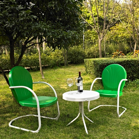 Crosley Griffith 3 Piece Metal Outdoor Conversation Seating Set - Two Chairs in Grasshopper Green with Side Table in White