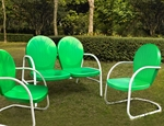 Crosley Griffith 4 Piece Metal Outdoor Conversation Seating Set - Loveseat and 2 Chairs in Grasshopper Green with Side Table in White
