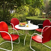 "Crosley Griffith Outdoor Metal Five Piece Set - 40"" Patio Dining Table and 4 Chairs in White/Red"
