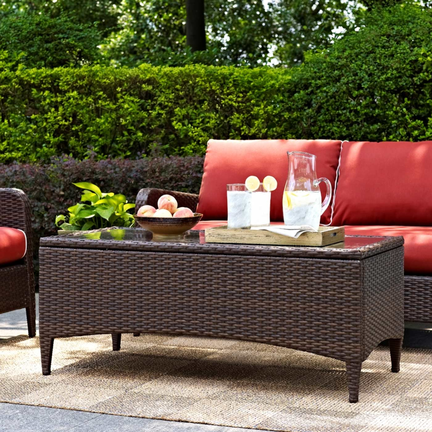 Crosley Kiawah 3 Piece Outdoor Wicker Conversation Set with Coffee