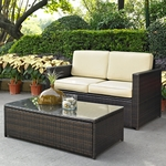 Crosley Palm Harbor 2 Piece Outdoor Wicker Seating Set - Loveseat and Glass Top Table