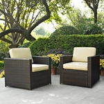 Crosley Palm Harbor 2 Piece Outdoor Wicker Seating Set - Two Outdoor Wicker Chairs