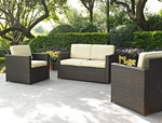 Crosley Palm Harbor 3 Piece Outdoor Wicker Seating Set - Loveseat and Two Outdoor Chairs