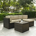 Crosley Palm Harbor 3 Piece Outdoor Wicker Seating Set - Loveseat, Chair and Glass Top Table