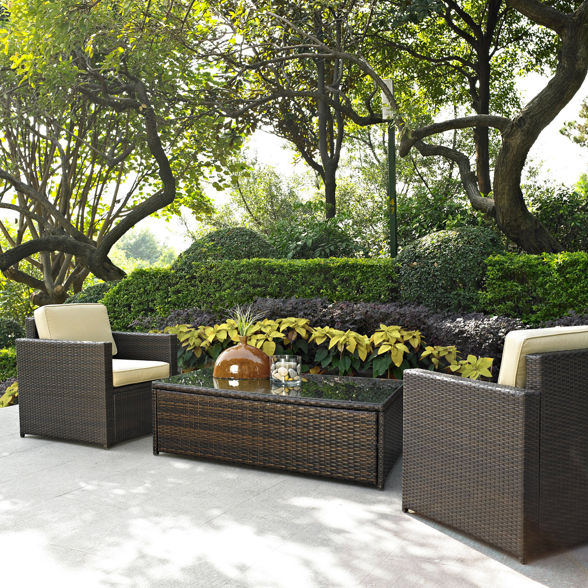 crosley palm harbor 3 piece outdoor wicker seating set two outdoor wicker chairs and glass top table