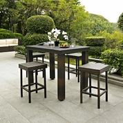 Crosley Palm Harbor 5 Piece Outdoor Wicker High Dining Set - Table and Four Stools