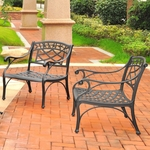 Crosley Sedona 2 Piece Cast Aluminum Outdoor Conversation Seating Set - 2 Club Chairs in Black