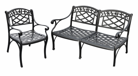 Crosley Sedona 2 Piece Cast Aluminum Outdoor Conversation Seating Set - Loveseat and Club Chair in Black