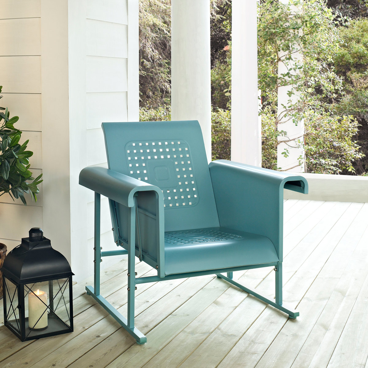 Charmant Crosley Veranda Single Outdoor Glider Chair In Caribbean Blue