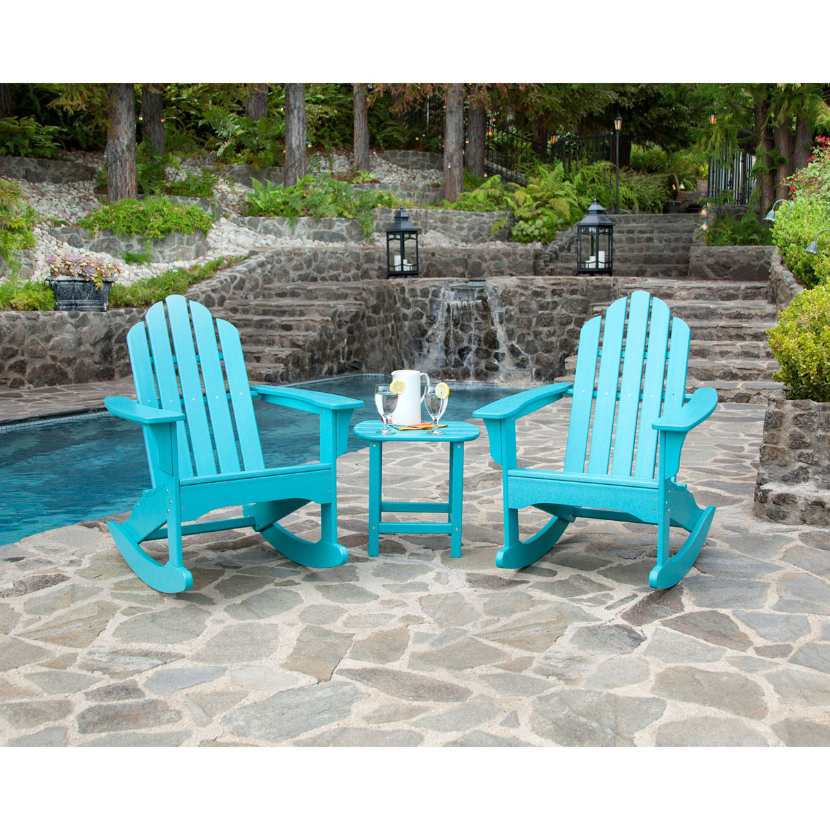 Hanover 3 Piece Adirondack Rocking Chair Set With 2
