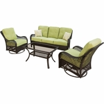 Hanover Orleans 4 Piece Wicker Loveseat and Chair Set with 2 Swivel Gliders, 1 Loveseat and 1 Coffee Table