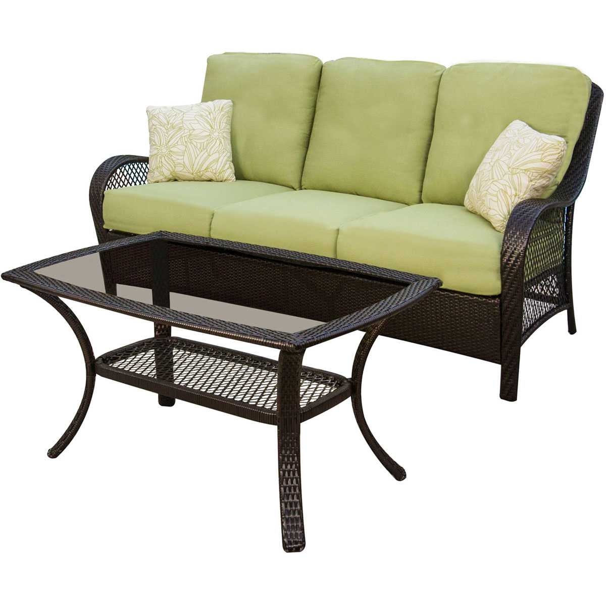 Breckenridge 4 Piece Patio Furniture Set Two Swivel: Hanover Orleans 4 Piece Wicker Loveseat And Chair Set With