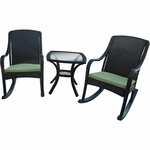 Hanover Orleans 5 Piece Wicker Rocker Set with 2 Rockers, 2 Cushions and Glass Top Side Table