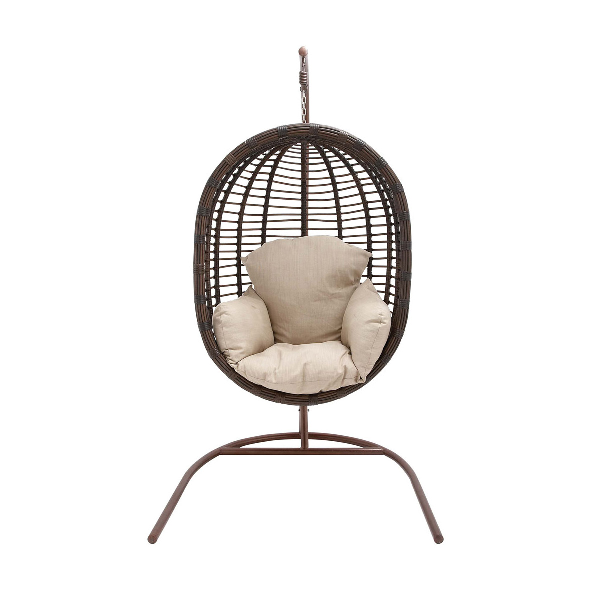 Hanover Outdoor Wicker Rattan Hanging Egg Chair Swing With Bold Stripe  Pattern