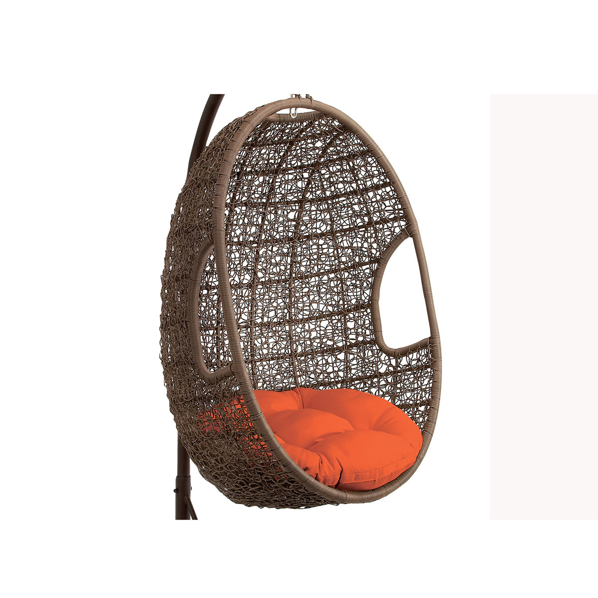 Hanover Outdoor Wicker Rattan Hanging Egg Chair Swing With