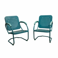 Attractive Hanover Retro Set Of 2 Metal C Spring Chairs In Caribbean Blue