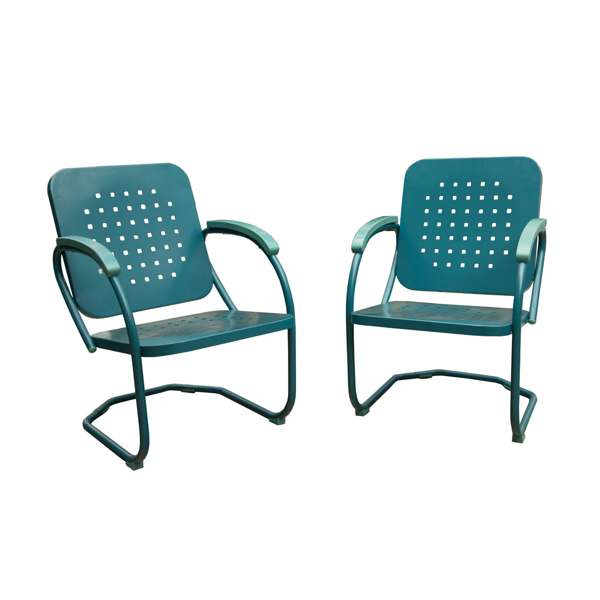 Hanover Retro Set Of 2 Metal C Spring Chairs In Caribbean Blue