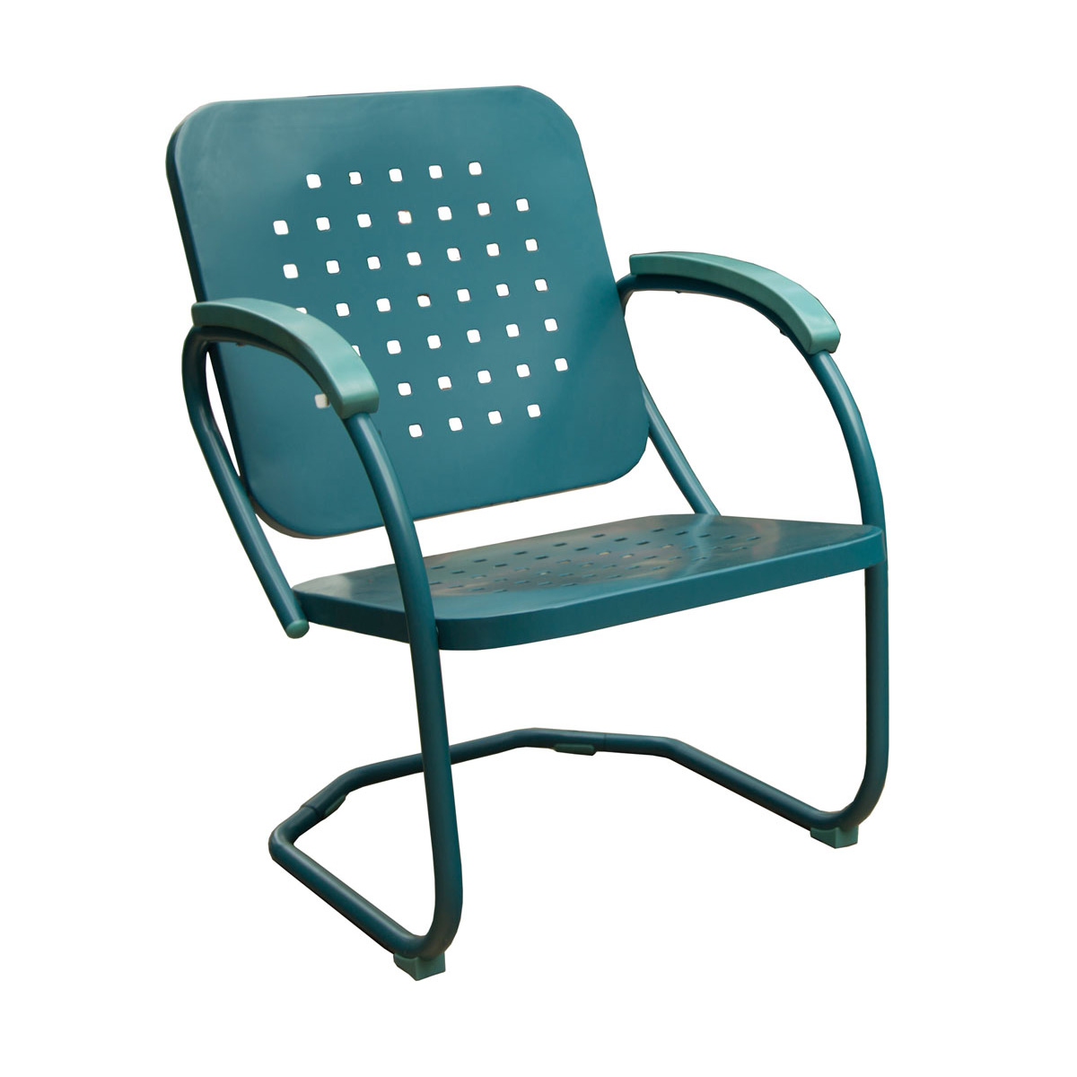 Hanover Retro Set Of 2 Metal C Spring Chairs In Caribbean