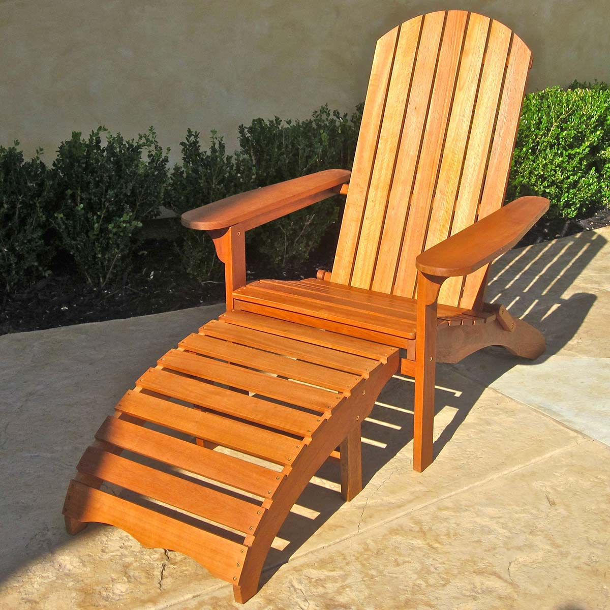 International Caravan Large Adirondack Chair With Footrest In Brown Stain