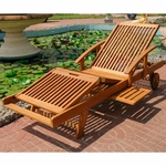 International Caravan Royal Tahiti Outdoor Chaise Lounge with Multi Sectional Deck in Brown Stain