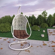 Modway Bestow Swing Outdoor Patio Lounge Chair - White Brown