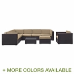 Modway Gather 9 Piece Outdoor Patio Rattan Weave Sectional Set