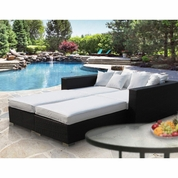 Modway Palisades 4 Piece Outdoor Patio Daybed - Espresso White
