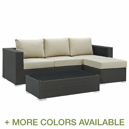 Modway Sojourn 3 Piece Rattan Outdoor Patio Sectional Set with Cushions