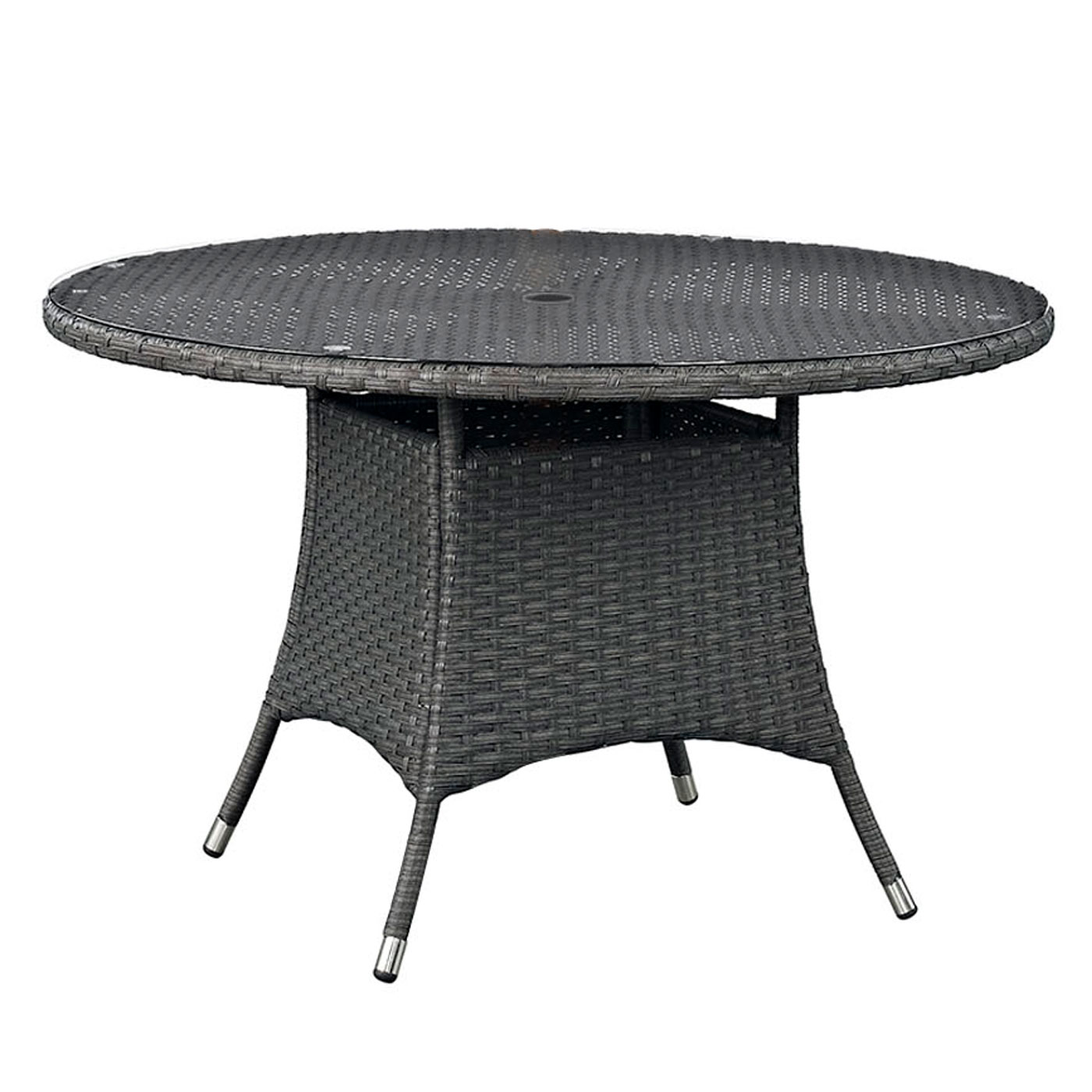 modway sojourn 47 round outdoor patio dining table in chocolate free